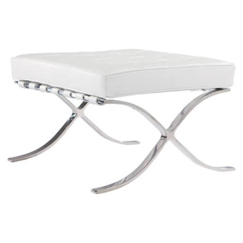 A simple footstool on a chromed steel base with a soft, tufted cushion. Perfect as a footstool, or as extra seating!
