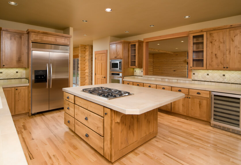 This Neutral Kitchen Works Well To Accent The Beautiful Quality Of Natural Wood Cabinetry And
