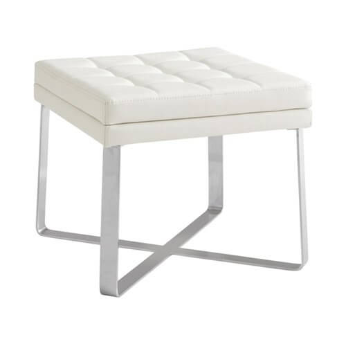 An ultra-modern footstool on a stainless steel frame. The seat cushion is tufted faux leather.