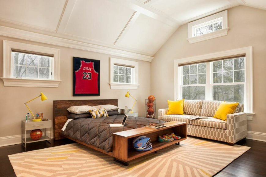 A look at the other side of the room, showing the patterned sofa against the double windows.