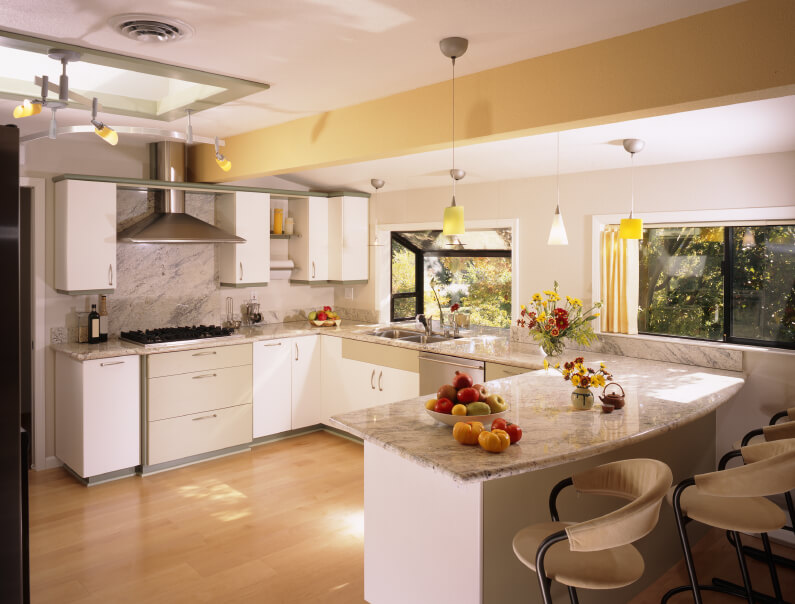 32 Spectacular White Kitchens with Honey and Light Wood Floors
