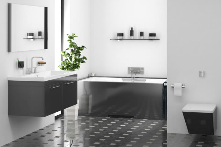 Hereu0027s A Minimalist Bathroom With A Detailed Tile Flooring Comprised Of  Dark Grey And Small White
