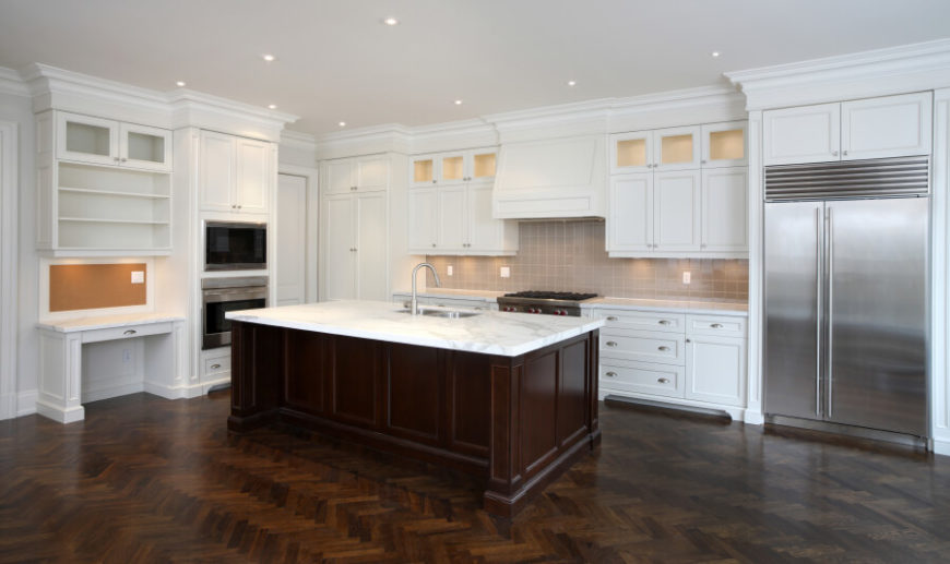 35 Striking White Kitchens with Dark Wood Floors PICTURES – White Granite Kitchen