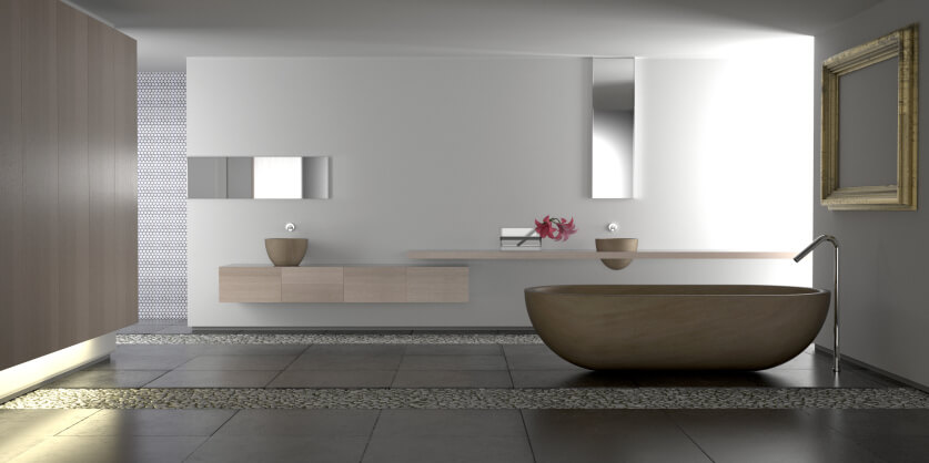 This Sleek, Minimalist Bathroom Houses A Singular Bowl Shaped Pedestal Tub  At Center,