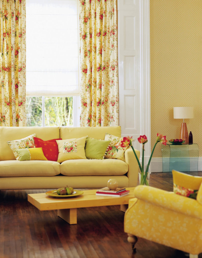 When Added To The Already Sunny Yellow Living Room These Strawberry Motif Curtains Add A
