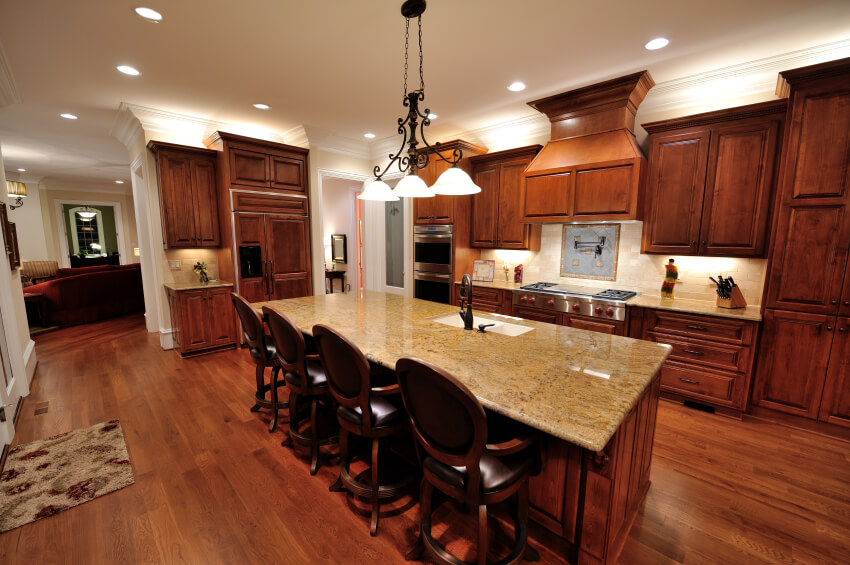 dark wood floors in kitchen. This fascinating space has a lot of delicate wood work in the cabinets and  floor 34 Kitchens with Dark Wood Floors Pictures