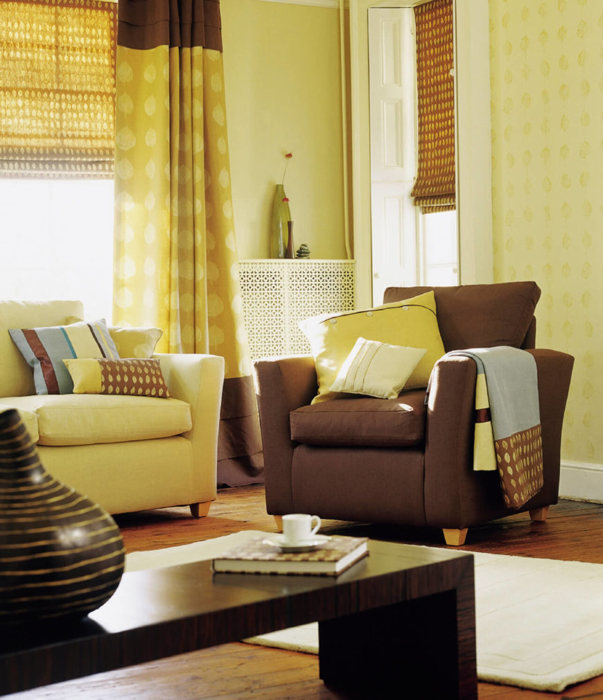 Combine And Match With Gold Curtains Living Room