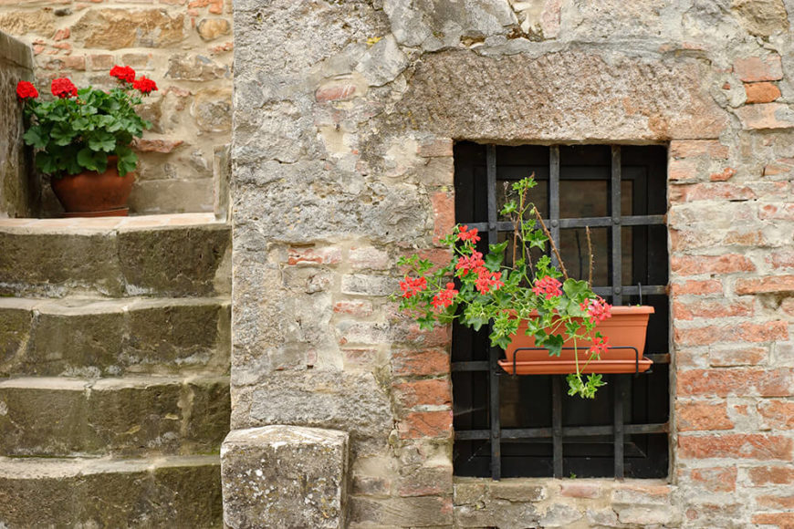 An old brick home with iron bars across one of the windows. A simple wire holder with a plastic planter brings cheer to a somewhat cheerless feature.