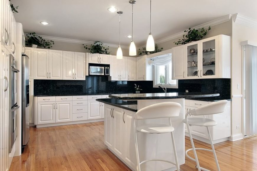 White Kitchen Light Granite dark granite countertops | hgtv for white kitchen black granite