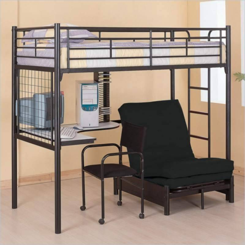 Here we return to slim metal framed beds, with a modern creation sporting a  truly