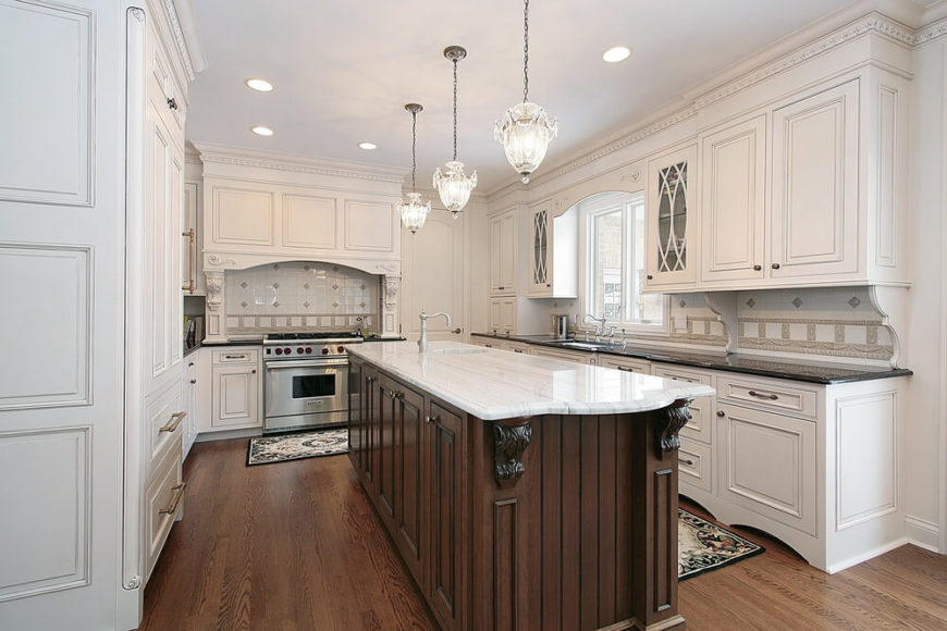 dark wood floors in kitchen white cabinets. This dynamic home has polished white cabinets and drawers with intricate  designs hidden in the walls 34 Kitchens Dark Wood Floors Pictures