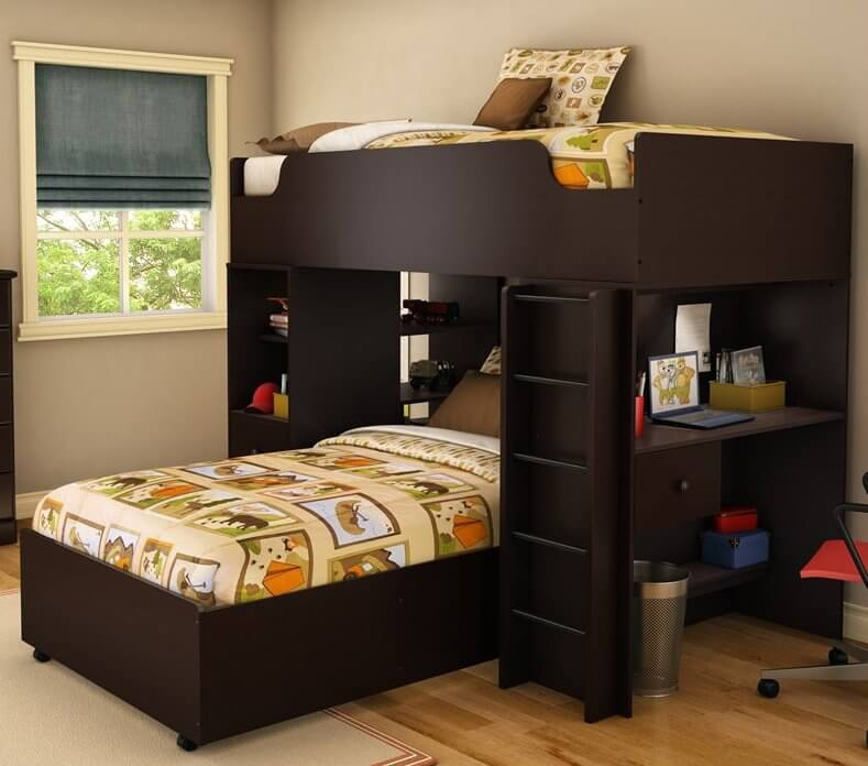 this sleek and modern bed features a lower twin bed beneath rich dark