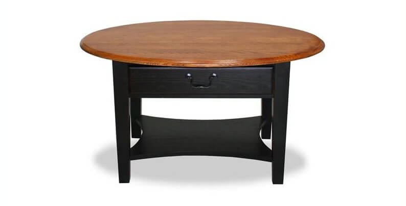 this unique coffee table features a lower storage tier and large built in drawer - Unique End Tables