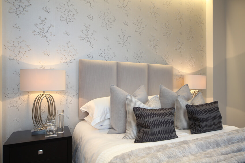 This Phenomenal Bedroom Features Delicately Patterned Wallpaper In Cream  And Beige, Tying The Neutral Room
