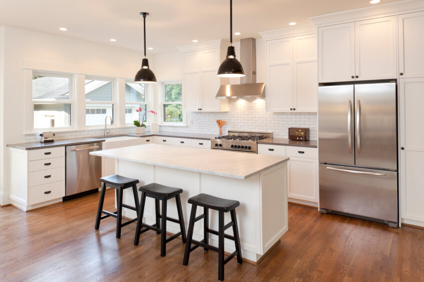 This Beautiful Warm Wood Floor Adds Color And Interest To This Lovely Cool White Kitchen