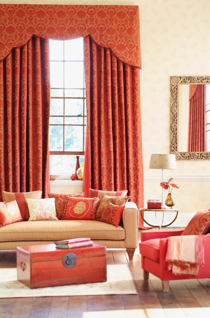 Nice Red Damask Curtains Complement Salmon Pink In In The Furniture. A Gilded  Mirror Adds To