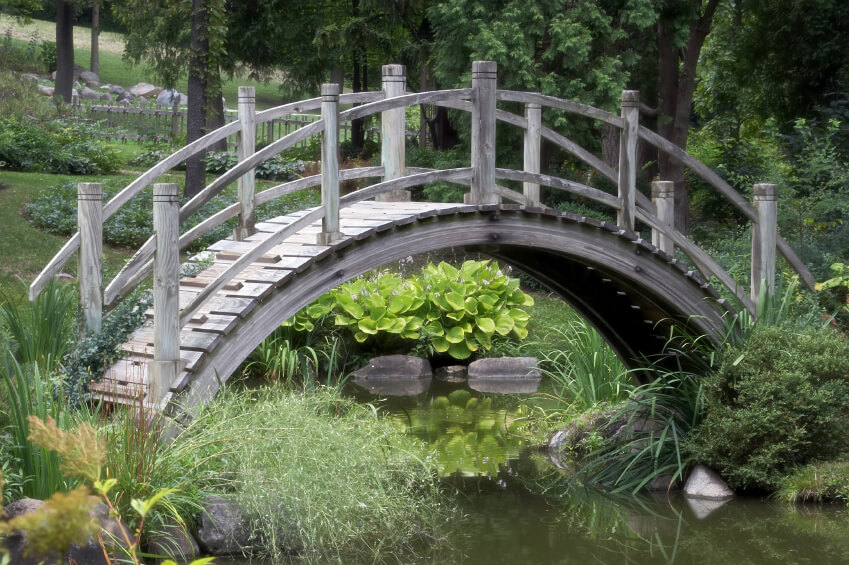 49 tranquil backyard garden bridge ideas and designs