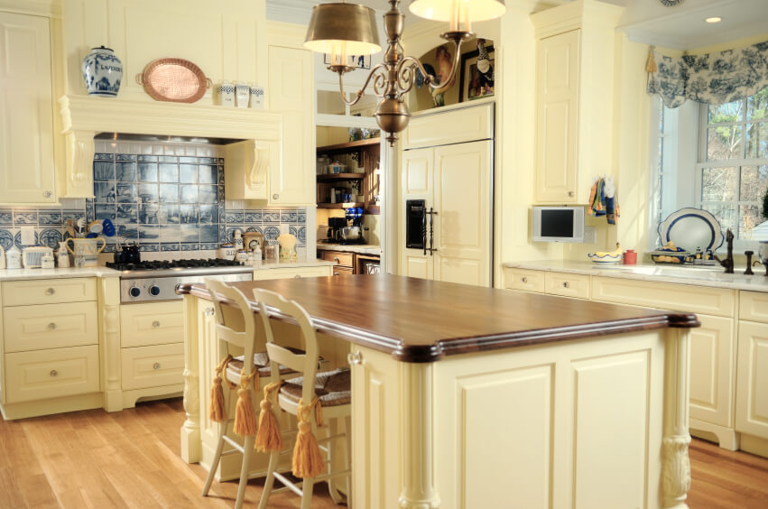 Enticing Kitchens With Light And Honey Wood Floors PICTURES - Warm kitchen cabinet colors