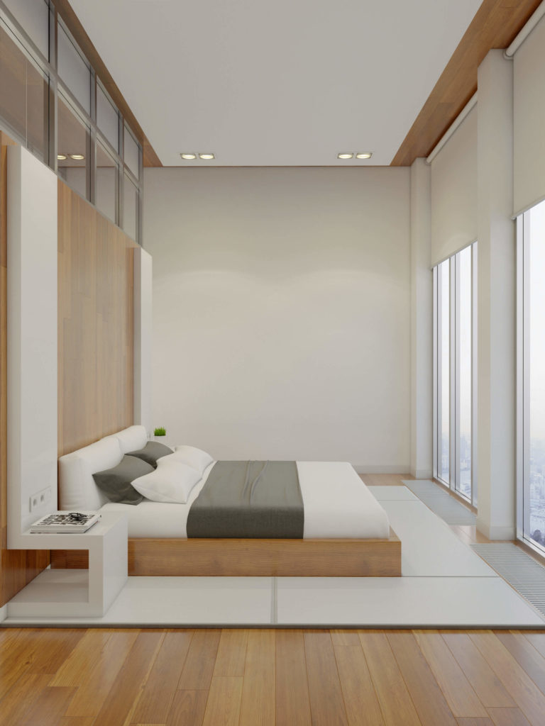 The bed faces a pair of full height window sets, creating a vastly opened visual space for the master bedroom.