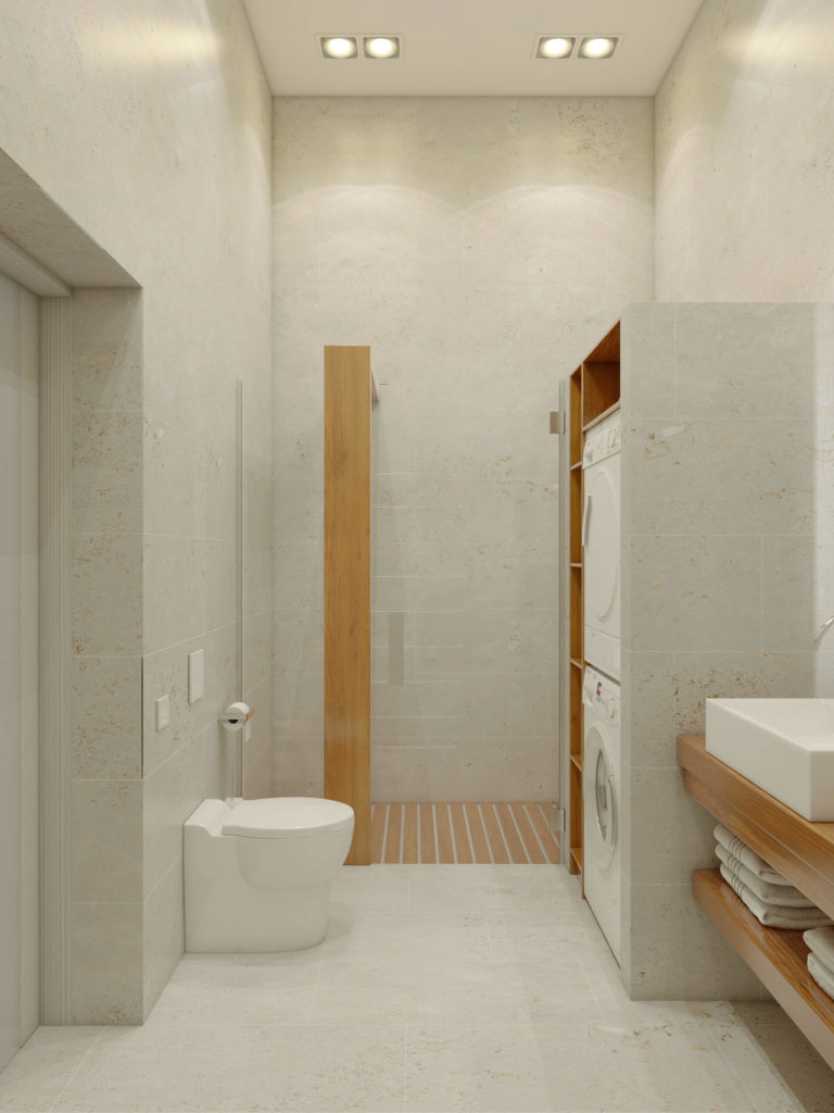 A second bathroom features immense walk-in shower and laundry facilities.
