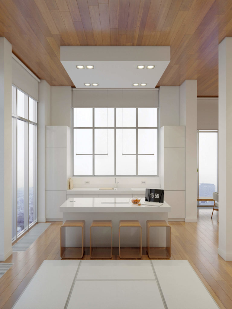 The kitchen, naturally lit via massive windows all around, centers on a large island with barstool seating space. Sleek white cabinetry defines the look.