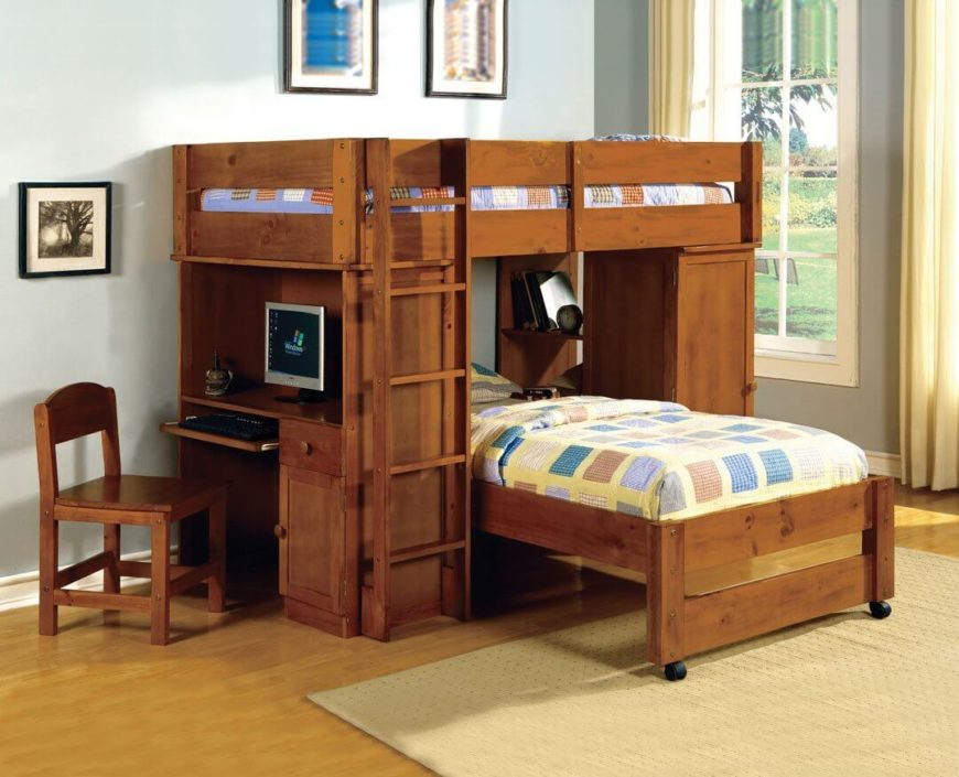 bunk bed with slide and desk. Brilliant Bed Dark Walnut Bunk Bed With Computer Desk On Bunk Bed With Slide And Desk S