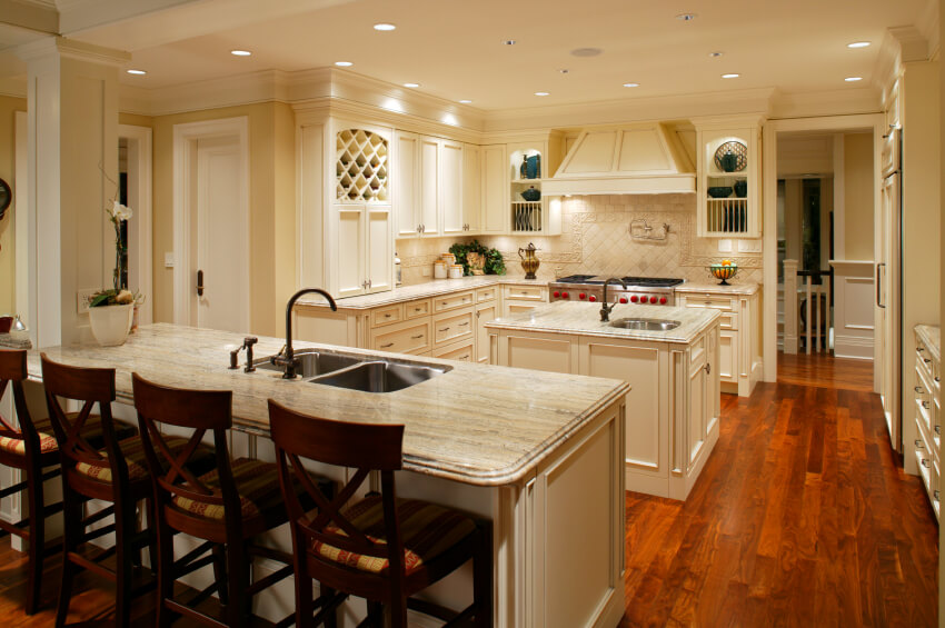 Striking White Kitchens with Dark Wood Floors PICTURES