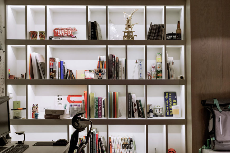The built-in shelving looks spectacular, lit from within via embedded lighting.