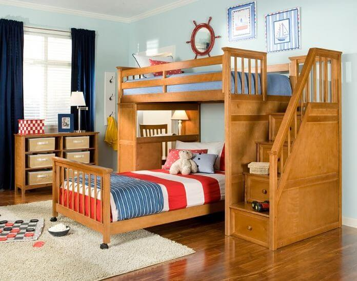 25 awesome bunk beds with desks perfect for kids for Ways to set up a small bedroom