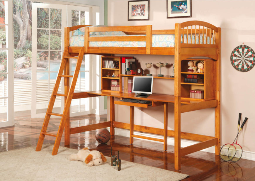 Delicieux Hereu0027s Another Rich Wood Loft Bed, Featuring An Array Of Shelving Options  Above The Centrally