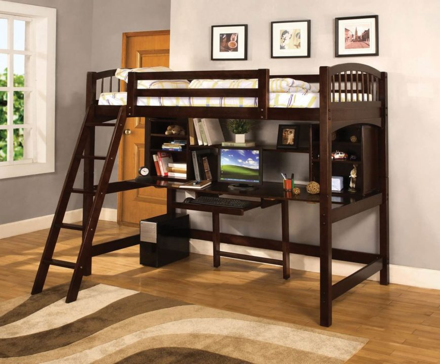 bunk bed with slide and desk. Unique Bed Hereu0027s Another Bed With Rich Dark Stained Wood Construction The Desk  Component Is Fully Equipped Intended Bunk Bed With Slide And Desk U