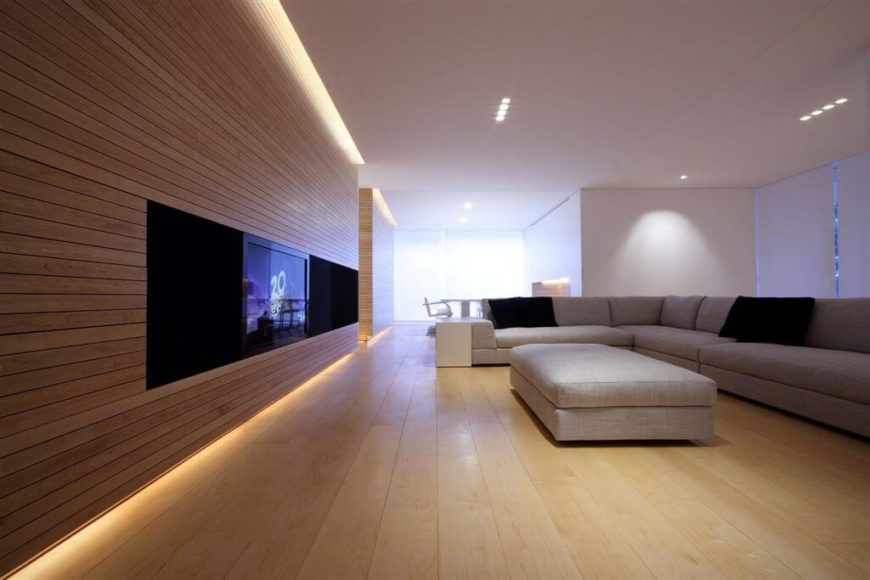 Living Room With Hardwood Wall