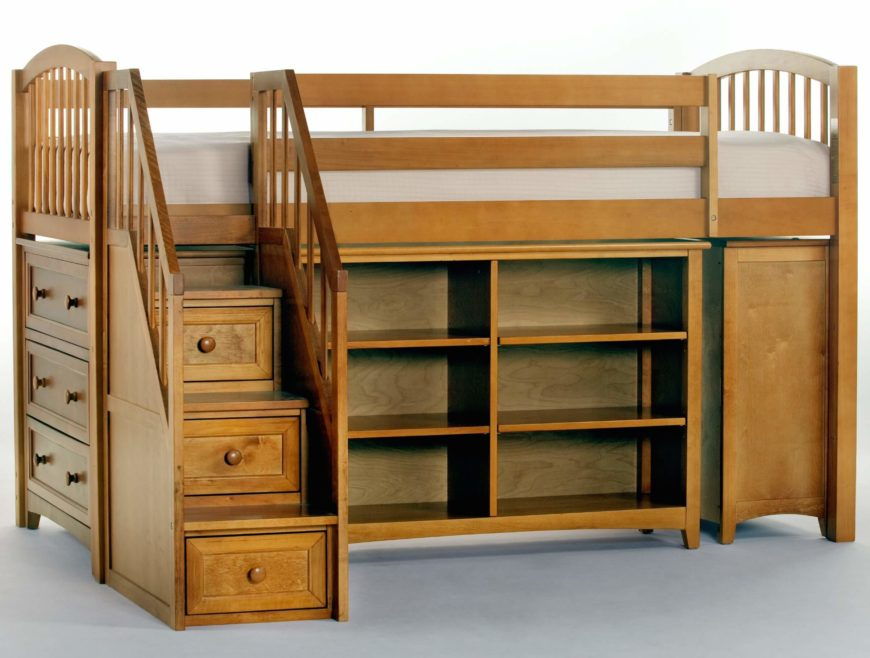 This rich, sleek natural wood framed loft-style bed features an abundance of storage, with removable shelving and dressers mounted below the bed, plus a set of stairs with built-in drawers.