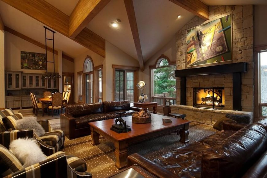 25 incredible stone fireplace ideas another contemporary formal living room with deep rich brown leather sofas paired with two striped teraionfo