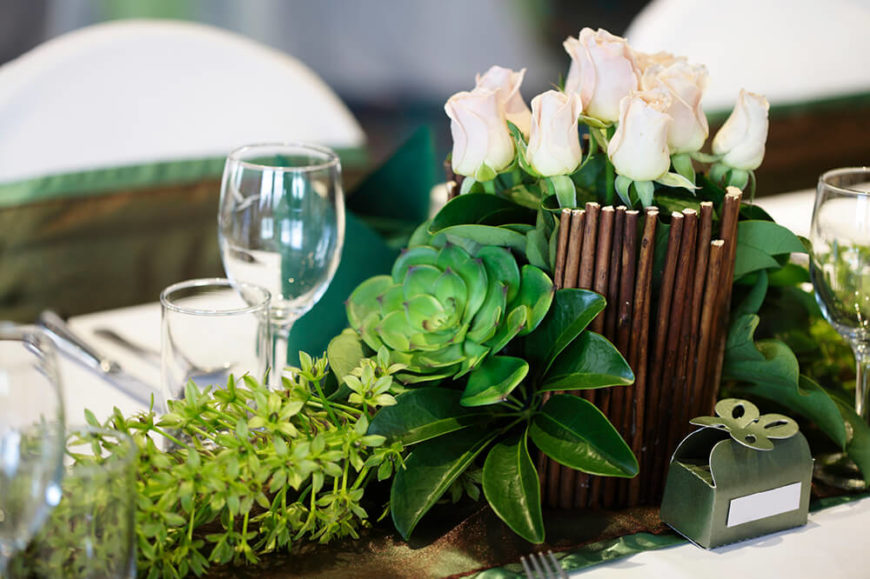 Nice A Longer Floral Arrangement With A Base Of Succulents Leading Up Into A  Vase Of White