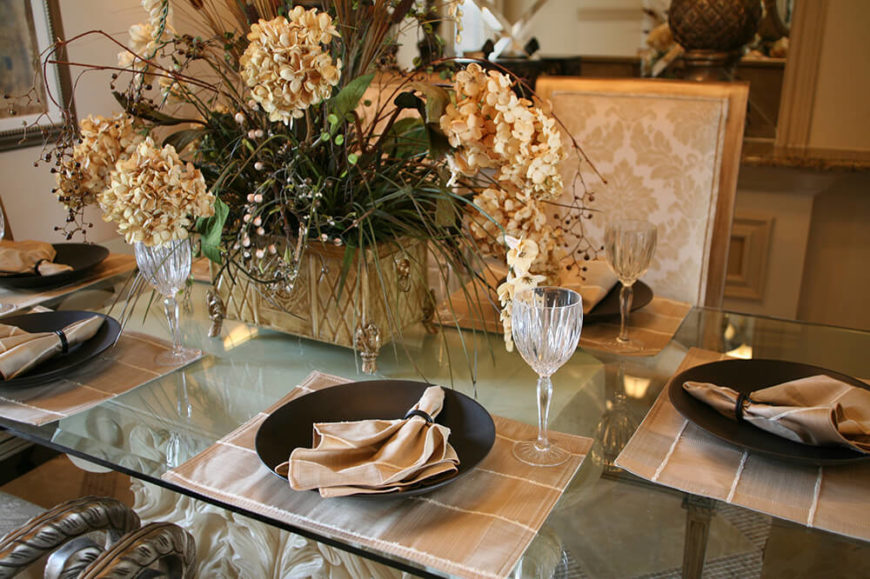 A cream and brown informal setting on a glass-top table. The dining chairs & 44 Terrific Table Setting Ideas for Dinner Parties u0026 Holidays (2018)