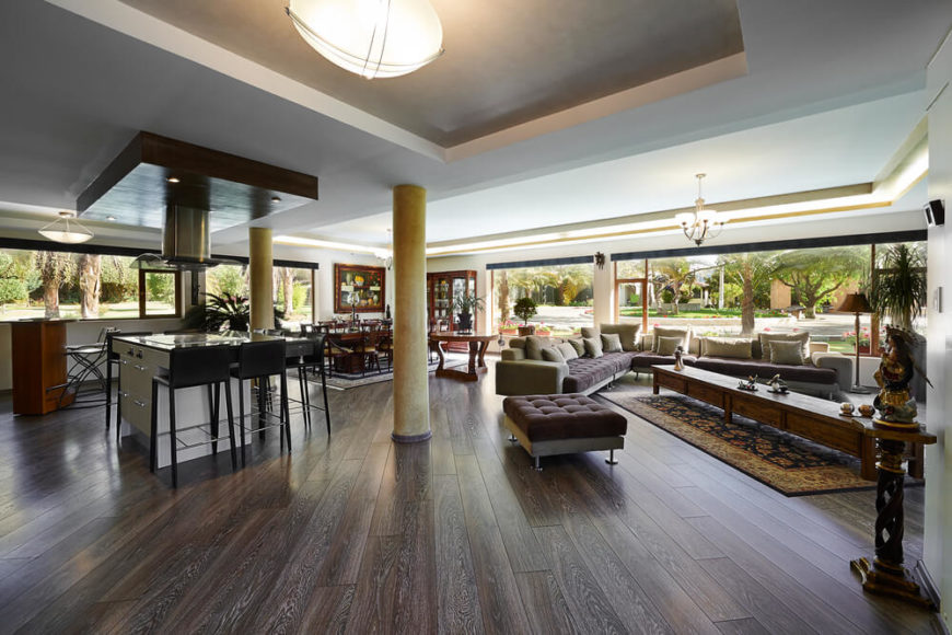 While many dark wood floors tend to have little variation in color, these have an almost gray and featherlike woodgrain.