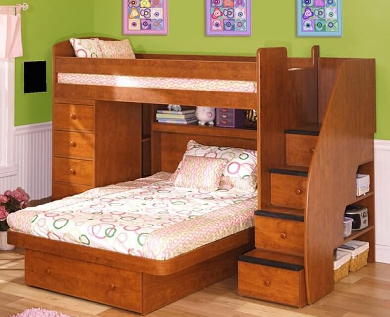 Here we have another bunk bed frame with perpendicularly mounted lower bed featuring a large & 24 Designs of Bunk Beds With Steps (KIDS LOVE THESE)
