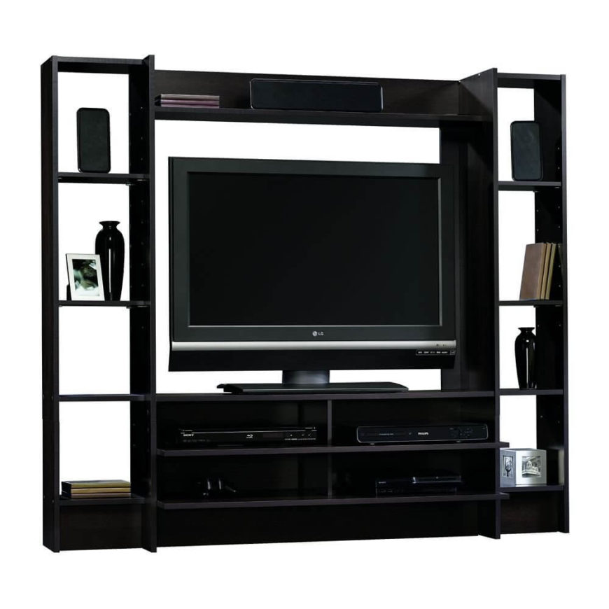 This large entertainment center setup includes all the shelving you could possibly need for your audio/video equipment. Elegant dark stained wood complements nearly any styled man cave.