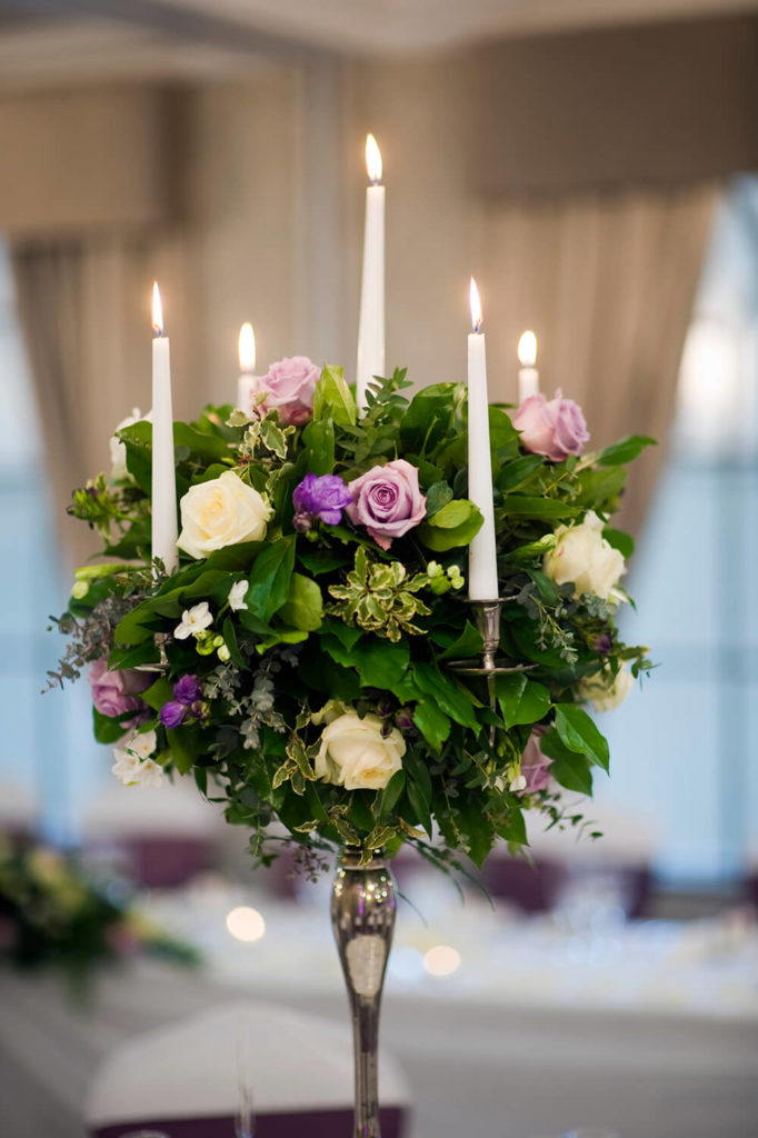 A Romantic And Elegant Bouquet Of Greens And Roses In White And Lavender  Roses. Tall