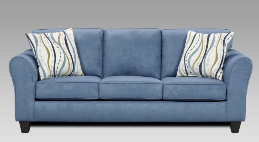Finally, we highlight a superb traditional sofa, with roll arms and an upright back, with plentiful cushioning. The blue hue really stands out as a bold choice, perfect for a definitive man cave.