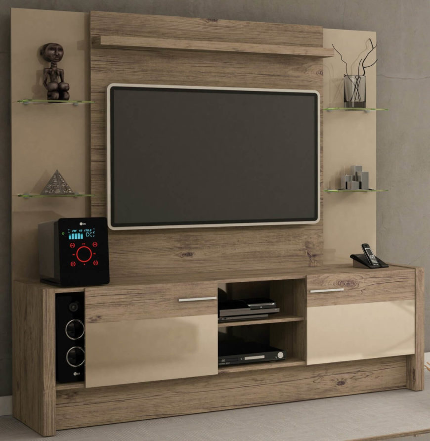 This large sized entertainment center stands as a nearly wall-sized centerpiece to any man cave. Replete with bespoke glass shelving and neutral wood tones, it's both traditional and contemporary in appearance. Sliding panels conceal extra storage below.