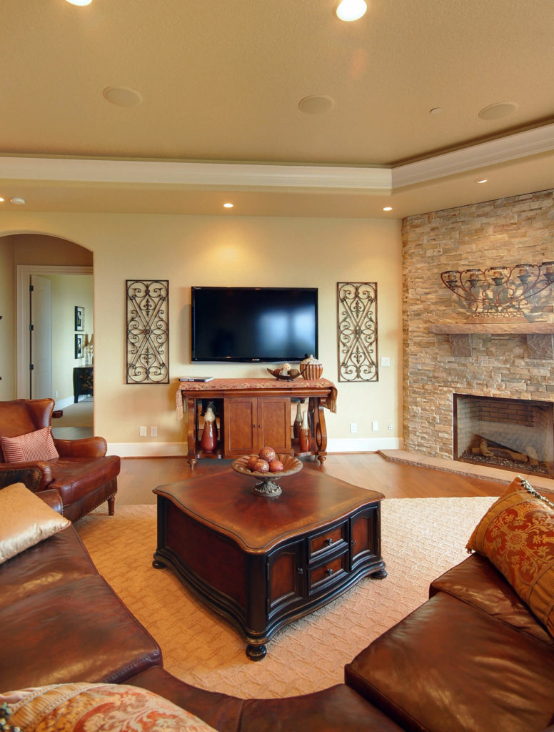 25 incredible stone fireplace ideas for Living room with corner fireplace