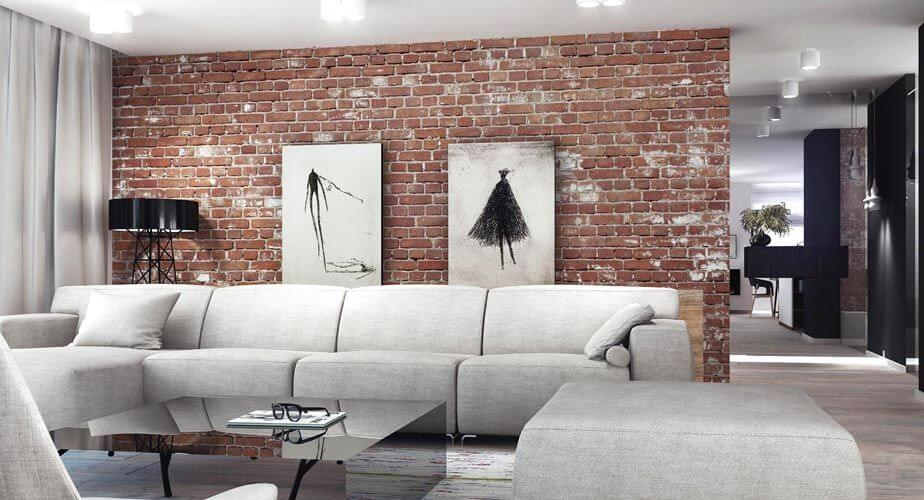 exciting brick wall inside living room | Katowice House Oozing with Creativity by Superpozycja ...