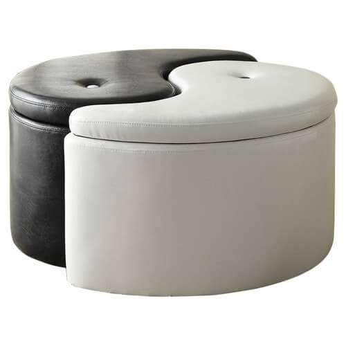 If you're interested in making a bold stylistic statement in your man cave, you might want to start with the ottoman. This particular example features a yin yang shape, with the two halves able to separate to form individual ottomans. With built-in storage, it's as useful as it is bold.