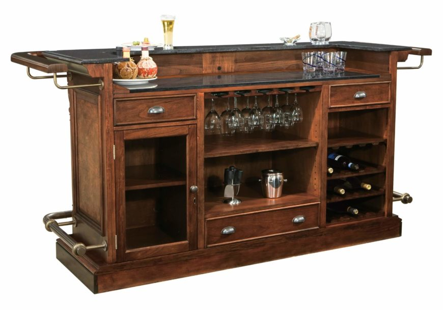 This bar setup packs an abundance of function and style into a compact frame. The bar itself features both wraparound hand and foot rails, as well as built-in wine rack, glass storage, and liquor cabinets.