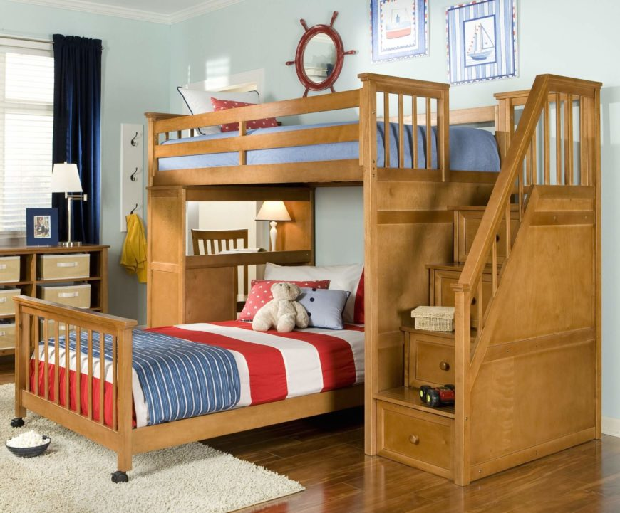 This Pecan Tinted Natural Wood Frame Bed Features A Large Set Of Stairs  With Built