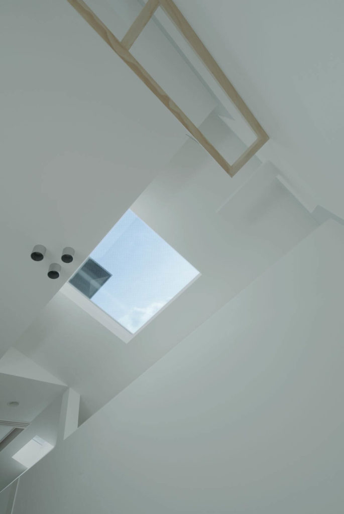 Taking in the vertical view, we see the complex layering near the roof of the home, with a triangular void created over the eave. The skylights provide abundant natural lighting throughout the home, with varying angles.