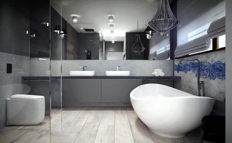 The master bathroom is a thing of beauty, containing dual vessel sinks, a glass-enclosed shower, and a curved freestanding soaking tub.