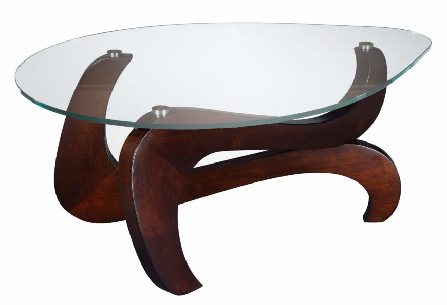 Here we have an elegant glass-topped coffee table with sumptuous curved wood base. The oblong shape and organic curves make for an unusual but beautiful element in any man cave.